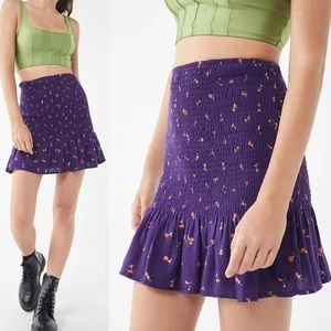UO Tanner Floral Smocked Mini Skirt NWT L